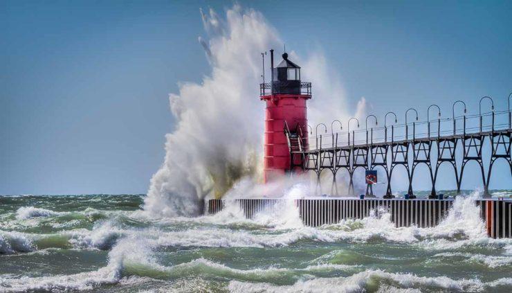 Shutterstock waves pound Michigan shorelines feat