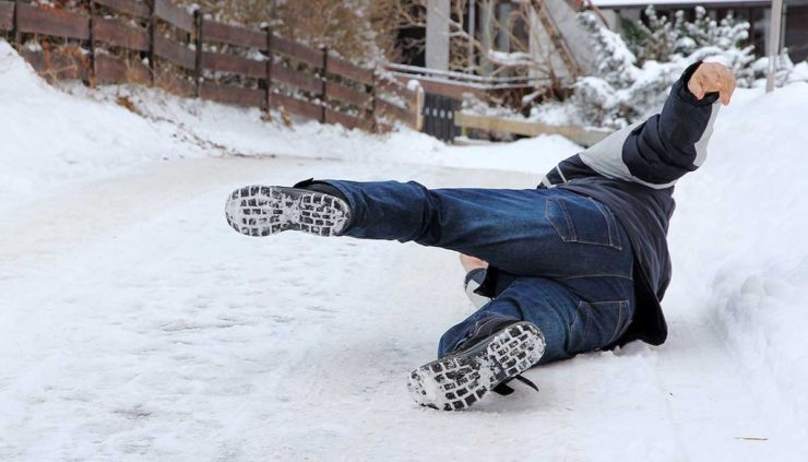 Man falling down in the snow