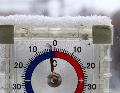 A thermometer shows a sub-zero temperature