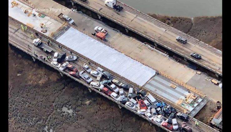 An aerial photograph of the massive pileup on Interstate 64