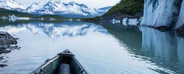 Canoe-on-frozen-lake