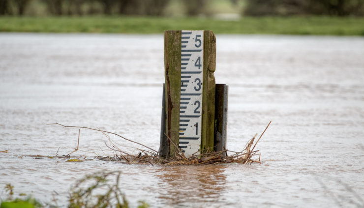 Rainfall Measurements seen on river flood marker