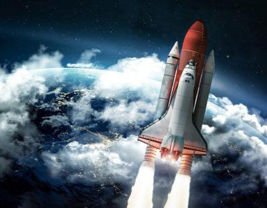 Rocket-Ship-Over-Earth