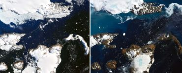 side by side pictures showing the melting happening in Antarctica right now