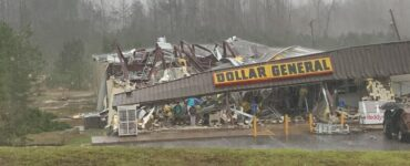 Severe damage sustained at a dollar general location due to a tornado