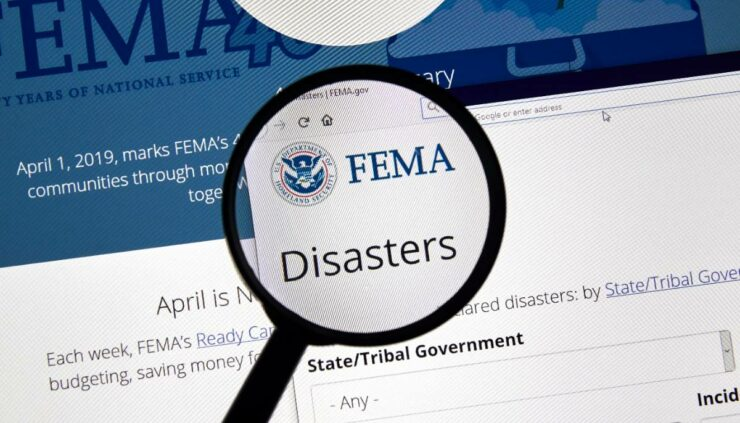 FEMA's site with Disaster highlighted