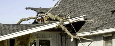 tree limbs remain on ripped roof of house after a tornado