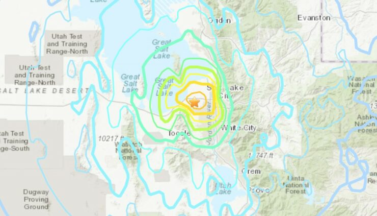 USGS map of where the earthquake hit in Utah