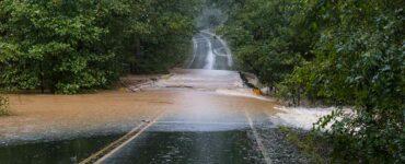a flooded road in Waxhaw North Carolina