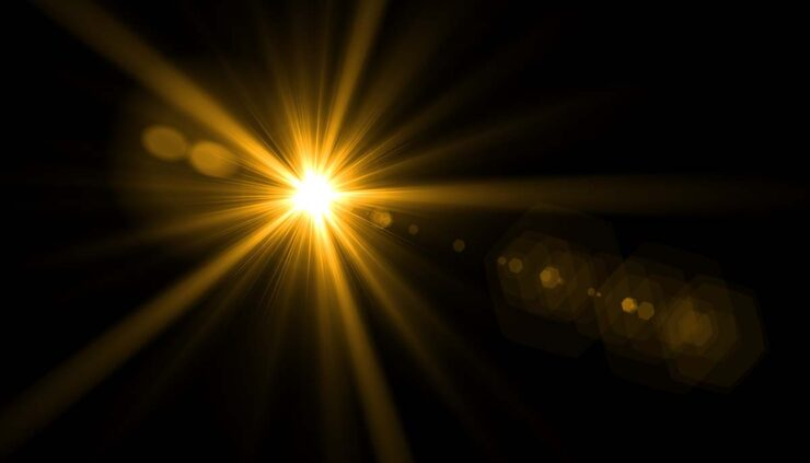 a lens flare on a black background