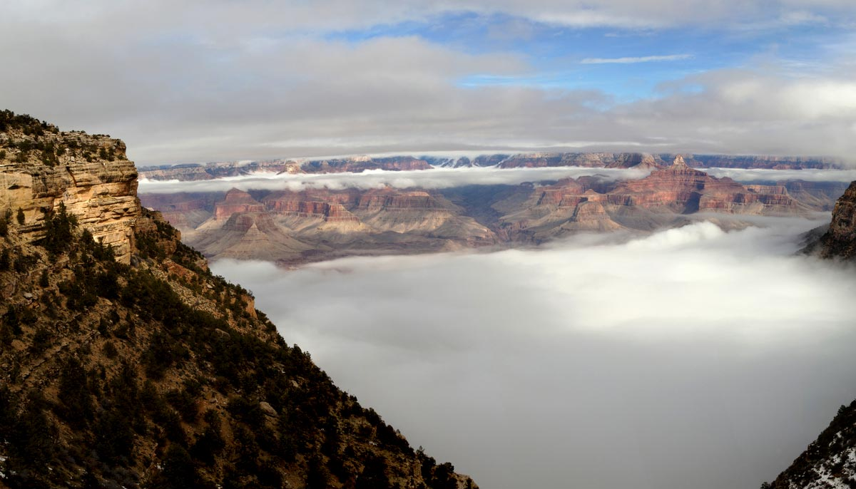 inversion clouds filling Grand Canyon