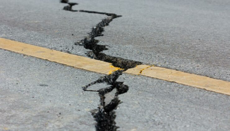 Earthquake damage on a road