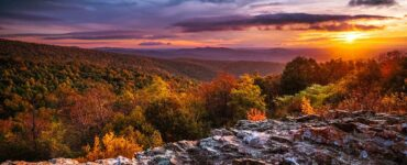 sunset during fall at Shenandoah National Park