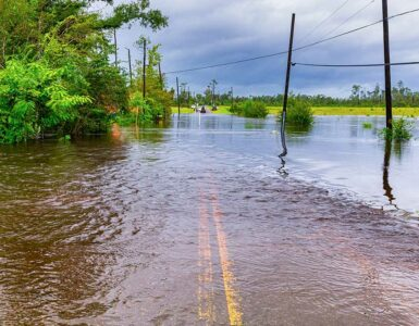 flooded road in Florida after Hurricane Sally