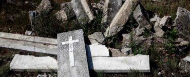 broken gravestones