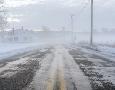 a road covered in ice