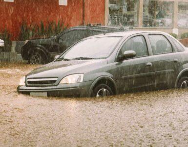 car stuck in flood waters