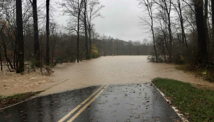 road submerged by flooding in NC