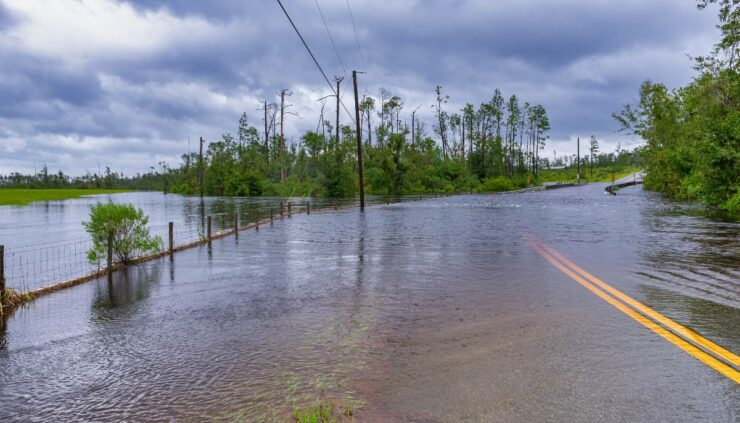 a flooded out road in florida