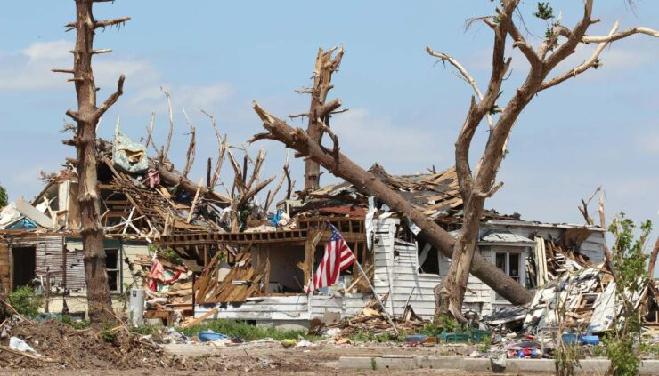 hurricane damage on a home
