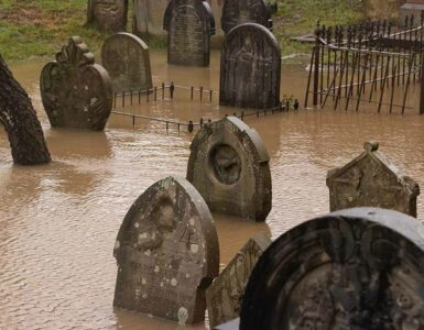 flooded gravestones