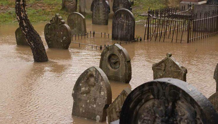 flooded gravestones