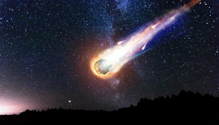 a meteor in the sky