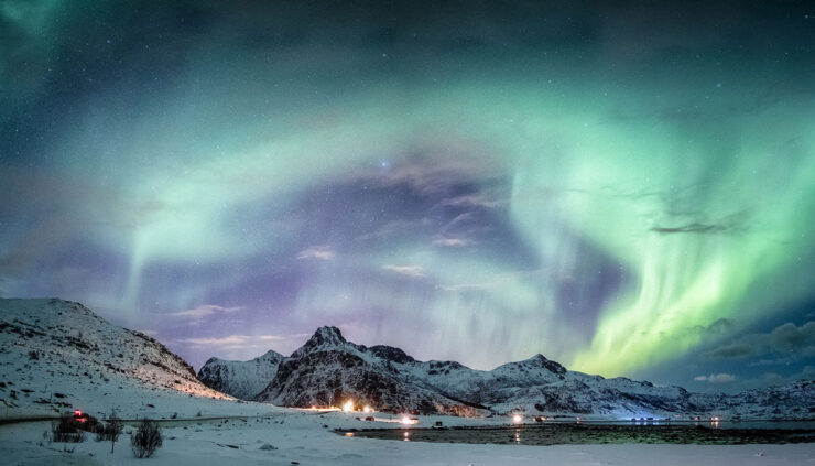 Northern lights above Arctic Circle