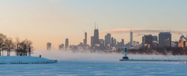 polar vortex over lake outside Chicago
