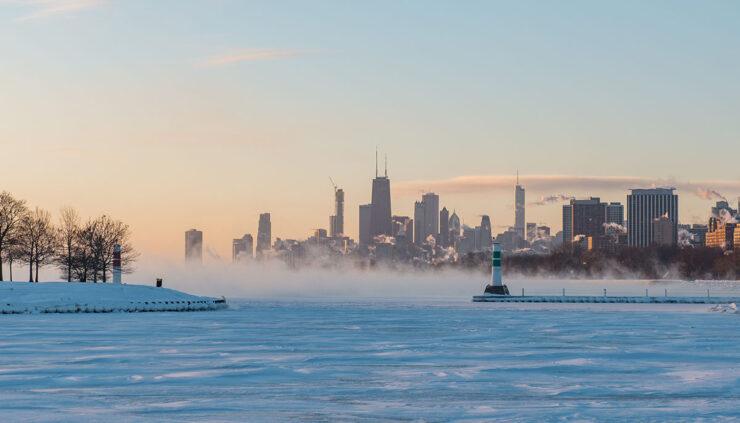 polar vortex over lake outside Chicago