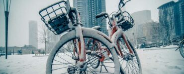 Snow-covered rental bicycles in Downtown Charlotte, NC
