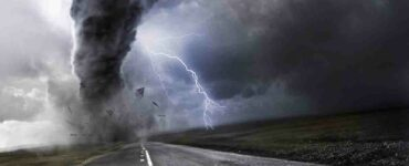 artist rendering of a tornado over a highway