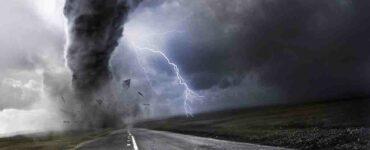 artist rendering of a tornado over a highway