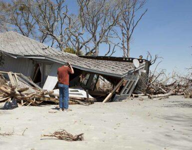 Aftermath of coastal disaster
