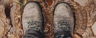 hiking in mud