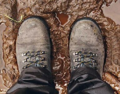 hiking in mud