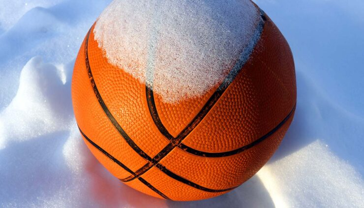 snow covered basketball