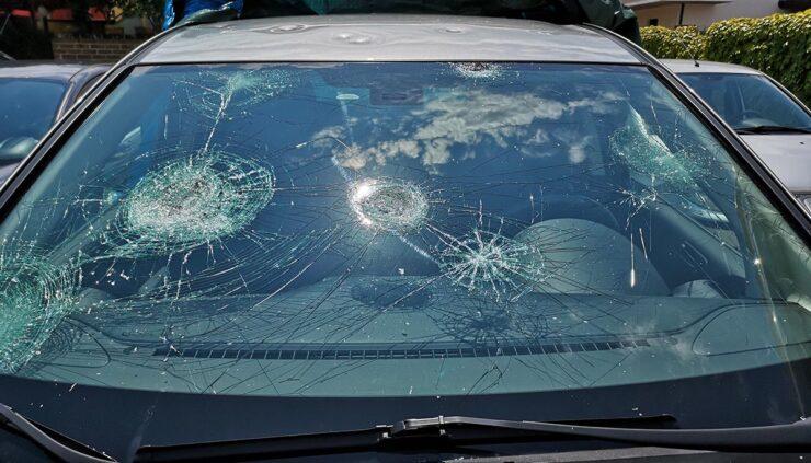 Car damaged by large hail