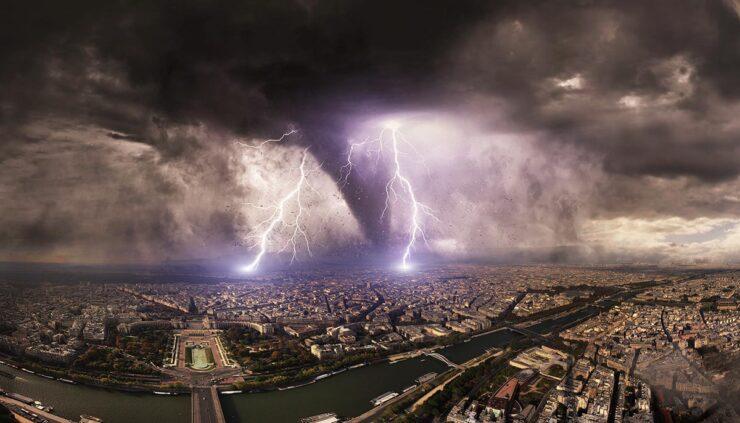 artist depiction of a mega tornado with lightning