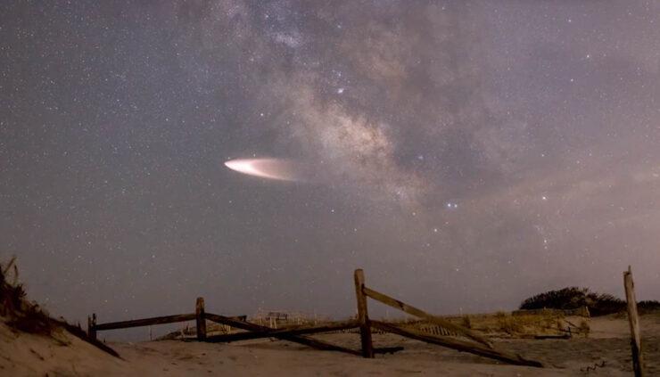 Falcon 9 rocket flies overhead