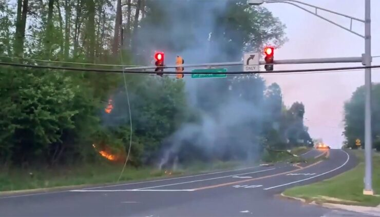 grass fire sparked by storm