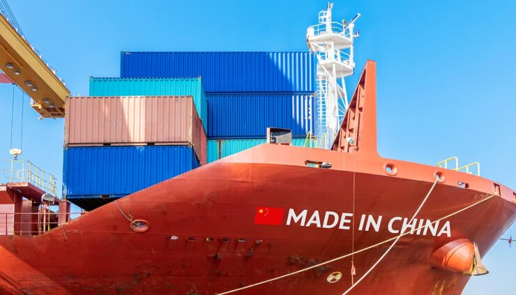Chinese shipping vessel, concept of Chiense exports to America