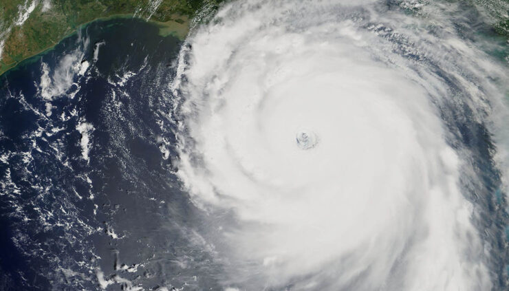 Hurricane approaching land over the Gulf of Mexico