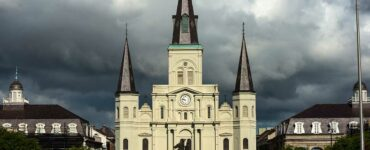 A storm brewing over St. Louis Basilica in New Orleans, Louisana