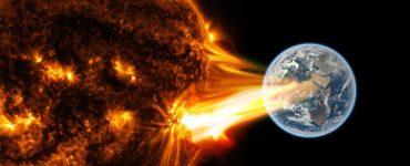 Artist depection of a solar storm racing toward the Earth